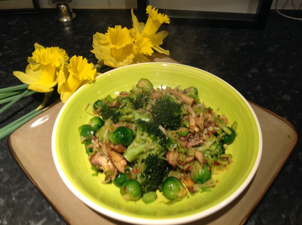 sprouts and mushrooms